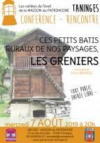 Ces petits bâtis ruraux de nos paysages, les GRENIERS - 7 août 2019 - TANINGES (74)