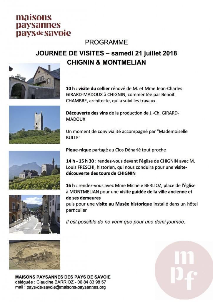 PROGRAMME JOURNEE DE VISITES - CHIGNIN MONTMELIAN - 2018 07 21